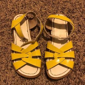 yellow salt water sandals